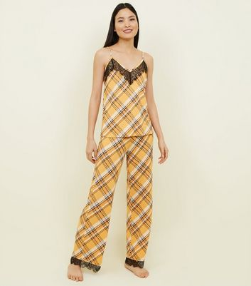 Mustard Check Lace Trim Pyjama Bottoms