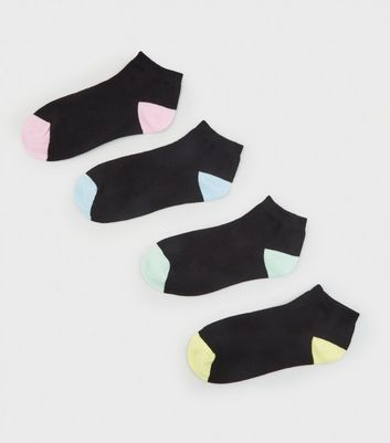4 Pack Black Contrast Panel Trainer Socks