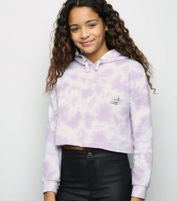 Girls Purple Tie Dye MNHTN Metallic Slogan Hoodie