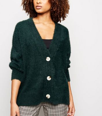 Dark Green Fluffy Oversized Cardigan