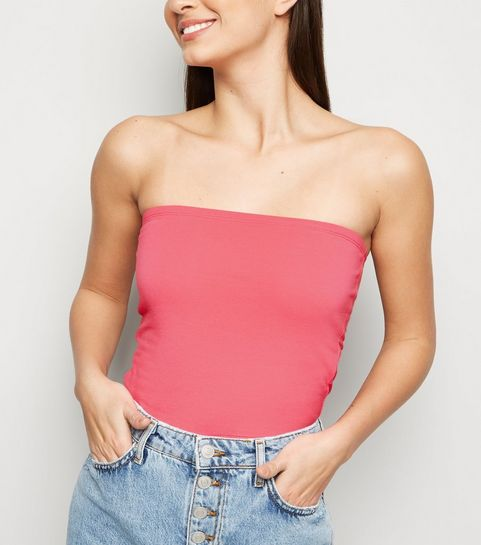 1d2530244982a ... Mid Pink Cropped Bandeau Top ...