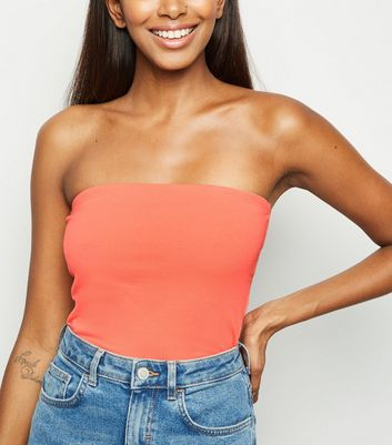 Coral Cropped Bandeau Top