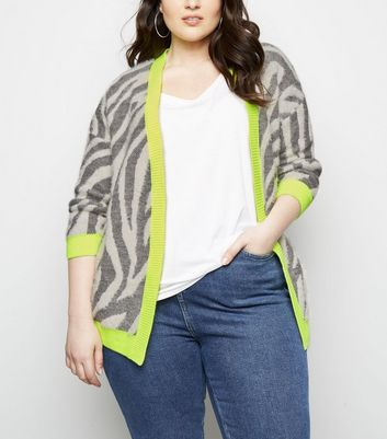 Curves Light Grey Zebra Print Neon Trim Cardigan