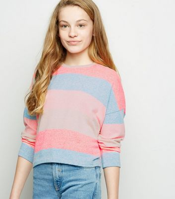 Girls Multicoloured Neon Stripe Boxy Jumper