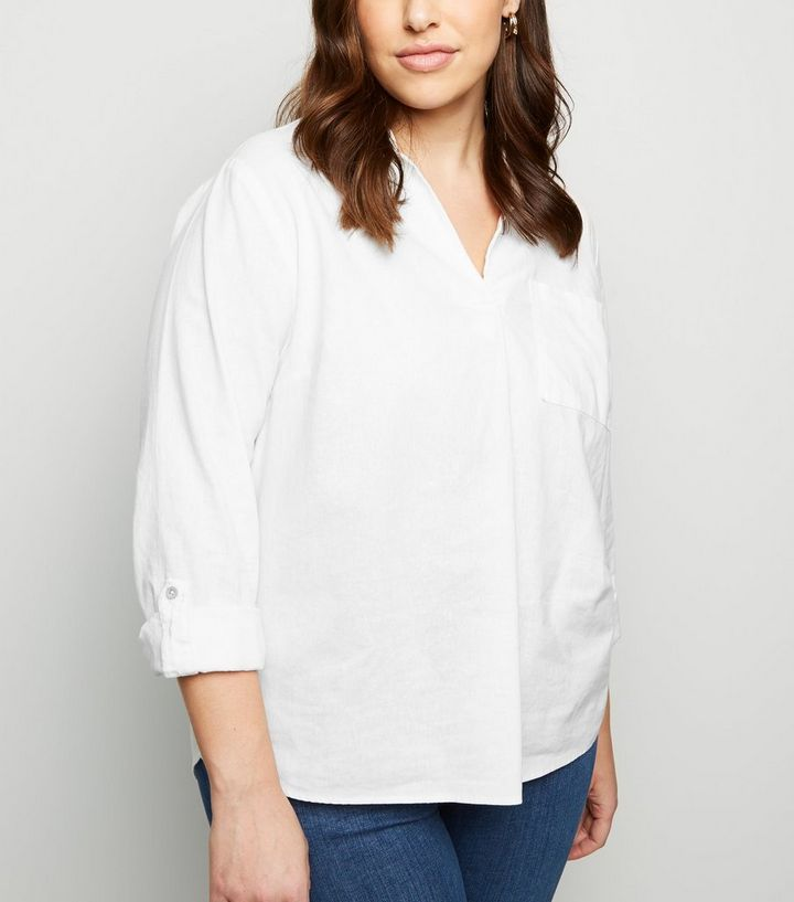 a82382e502e217 Curves White Linen Blend Overhead Shirt | New Look