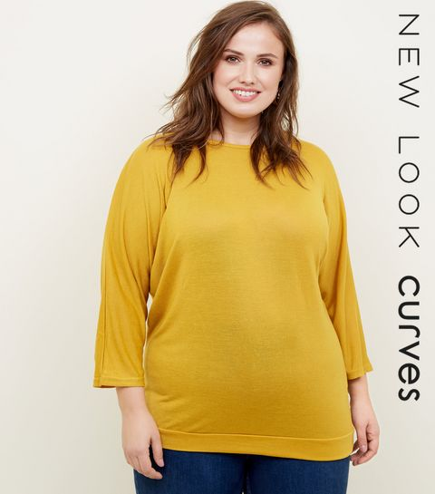 3ef1862af6e ... Blue Vanilla Curves Mustard Button Batwing Top ...