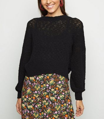 Black Long Sleeve Slub Knit Jumper