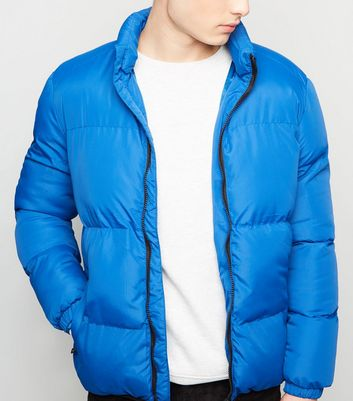 Bright Blue Funnel Neck Puffer Jacket