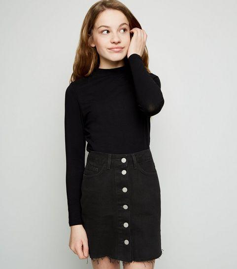5203be6a40 ... Girls Black Button Up Denim Skirt ...