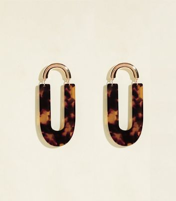 RE:BORN Brown Tortoiseshell Resin Earrings