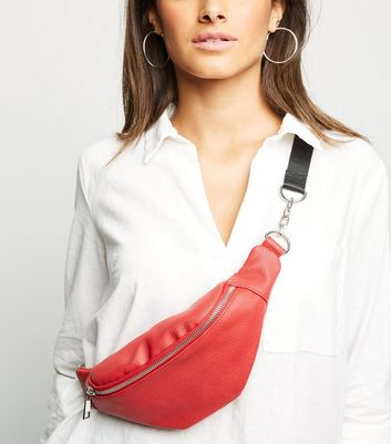 Red Leather-Look Chain Strap Bum Bag