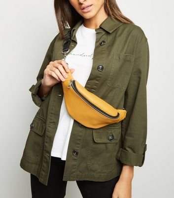 Mustard Leather-Look Chain Strap Utility Bum Bag