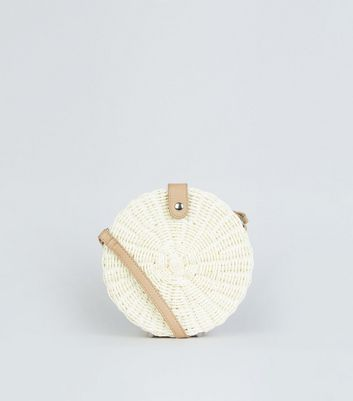 White Straw Effect Woven Round Bag
