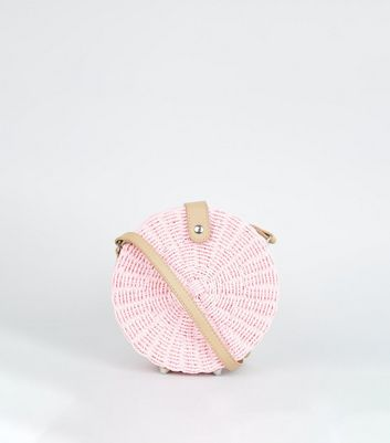 Pink Straw Effect Woven Round Bag