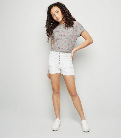 68732d7da99f3 ... Girls White Button Front Denim Shorts ...