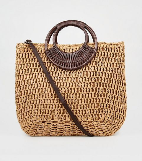 5241fa84f6 ... Stone Straw Effect Woven Handle Tote Bag ...