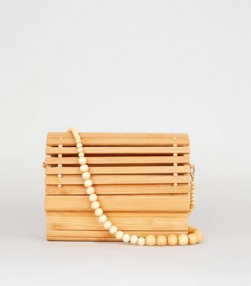 Stone Slatted Wood Shoulder Bag