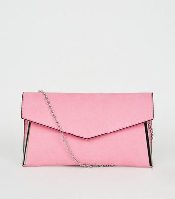 Pink Suedette Metal Trim Asymmetric Clutch