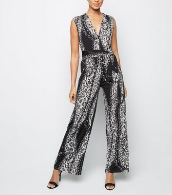 Mela Black Chain Print Wide Jumpsuit