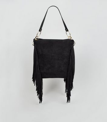 Black Suedette Fringe Tote Bag