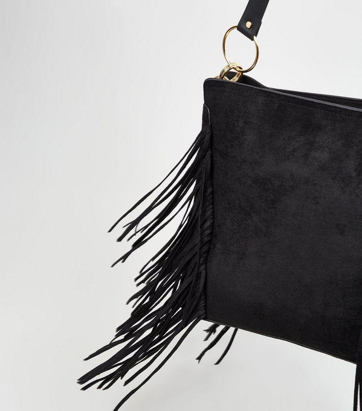 f93030c9e ... Black Suedette Fringe Tote Bag. ×. ×. ×. Shop the look