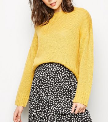 Mustard Boxy Knitted Jumper