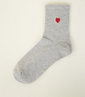 Grey Heart Embroidered Socks by New Look