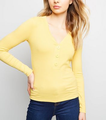 Pale Yellow Button Front Ribbed Long Sleeve Top