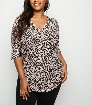 Blue Vanilla Curves Pink Leopard Print Zip Neck Top