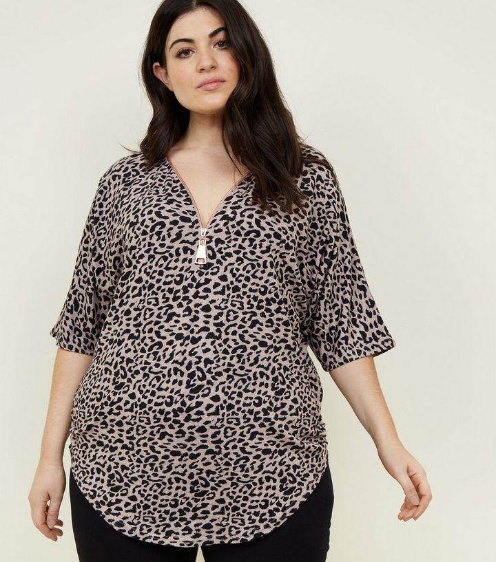 51b3e1d59247 Blue Vanilla Curves Pink Leopard Print Top   New Look