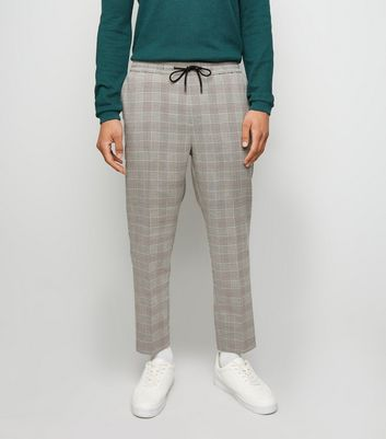 Grey Check Slim Crop Trousers