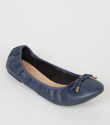 Wide Fit Navy Faux Snake Ballet Pumps