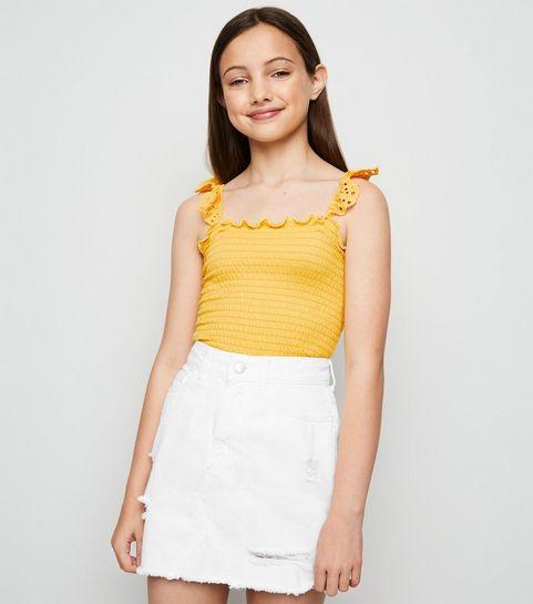 e6b448b3ec ... Girls White Ripped Denim Mom Skirt ...