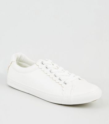 White Leather Look Scallop Trim Trainers by New Look