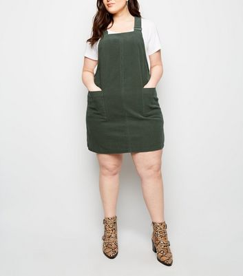 Curves Khaki Buckle Corduroy Pinafore Dress