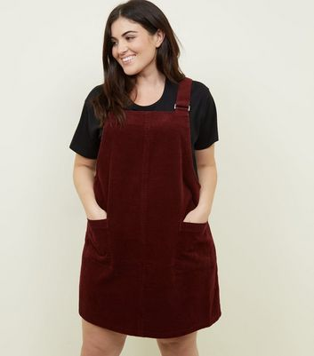 Curves Burgundy Buckle Corduroy Pinafore Dress