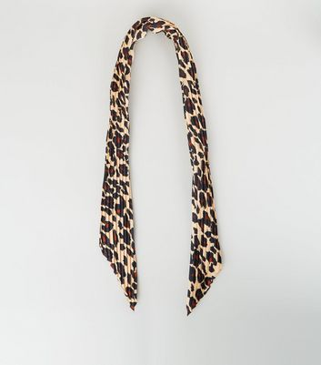 Brown Leopard Print Pleated Scarf