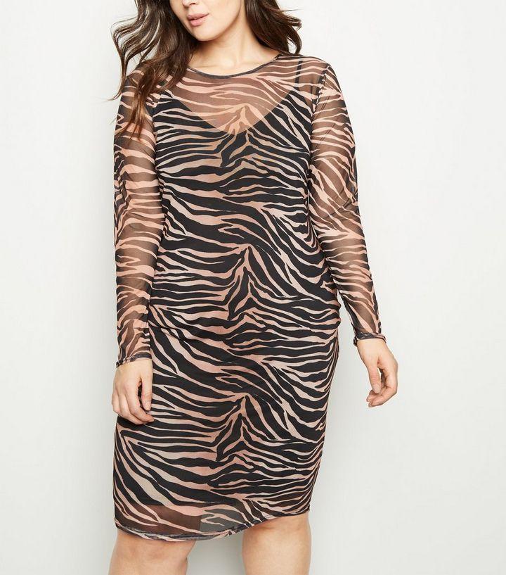 576a2bcd17 Curves Black Tiger Print Mesh Midi Dress