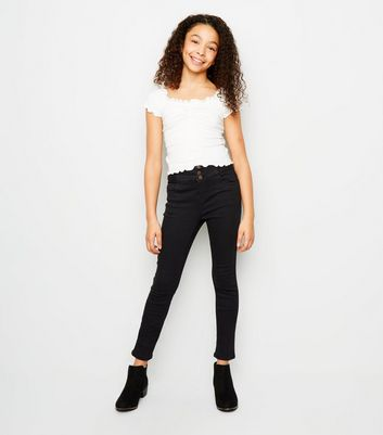 Girls Black High Waist Skinny Jeans