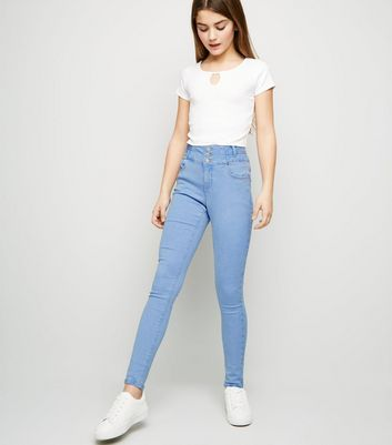 Girls Pale Blue High Waist Skinny Jeans