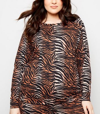 Curves Brown Tiger Print Soft Touch Sweatshirt