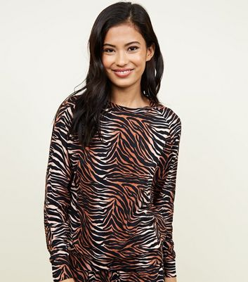 Brown Soft Touch Tiger Print Sweatshirt