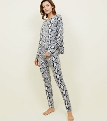 Tall Light Grey Soft Touch Snake Print Pyjama Set