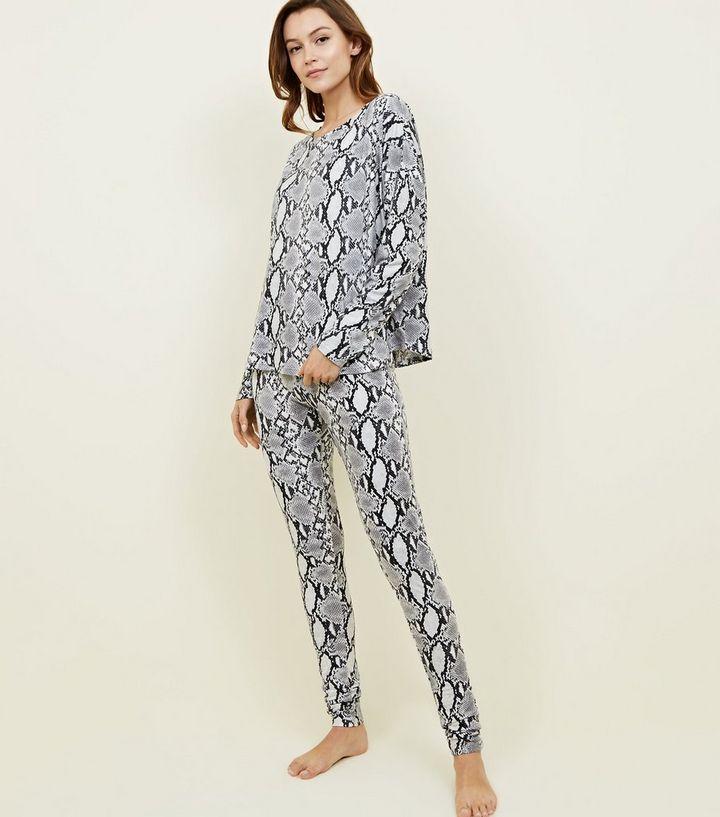 91801dd80a Tall Light Grey Soft Touch Snake Print Pyjama Set