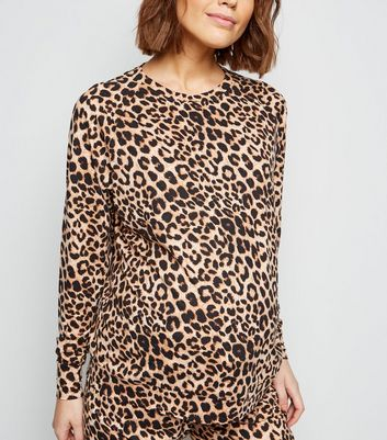 Maternity Brown Leopard Soft Touch Pyjama Sweatshirt