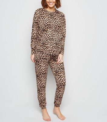 Maternity Brown Leopard Print Soft Touch Pyjama Joggers