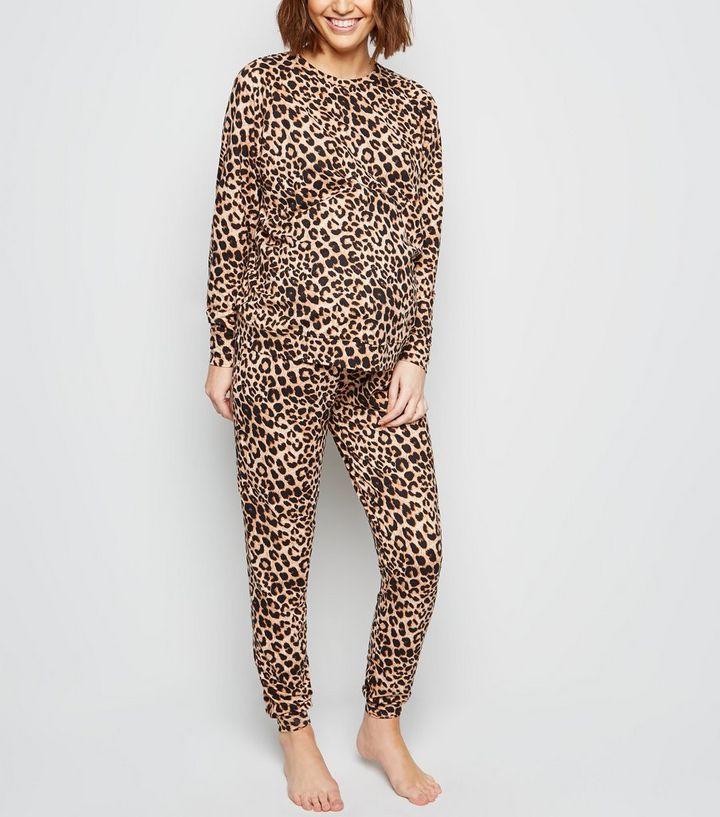 d8417f6d9fb7 Maternity Brown Leopard Print Soft Touch Pyjama Trousers | New Look