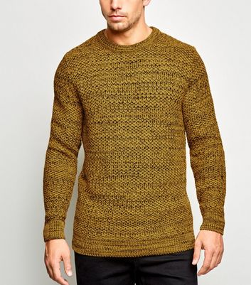 Mustard Tuck Stitch Crew Neck Jumper