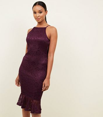 8c019275b5 ... AX Paris Burgundy Lace Frill Hem Dress