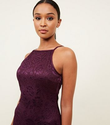 shop for AX Paris Burgundy Lace Frill Hem Dress New Look at Shopo
